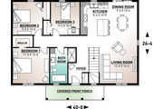Colonial Style House Plan - 3 Beds 1 Baths 1053 Sq/Ft Plan #23-103 Floor Plan - Main Floor