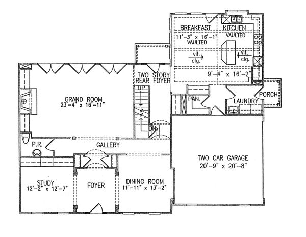 Traditional Floor Plan - Main Floor Plan Plan #54-402