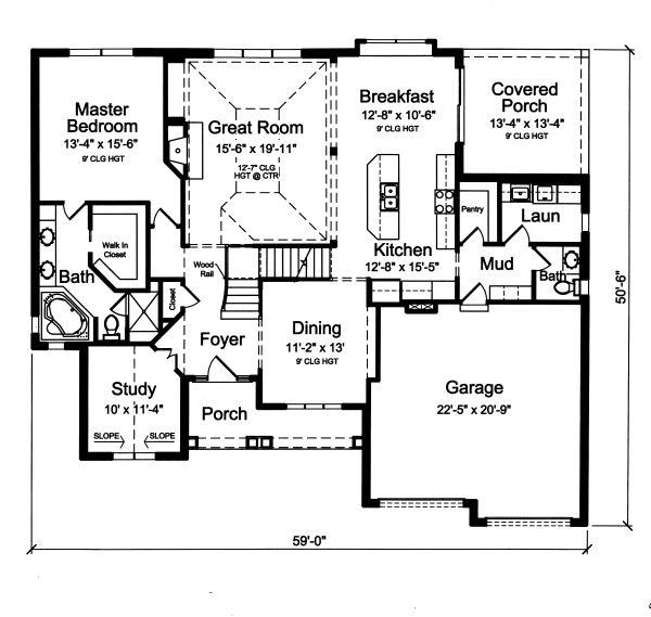 Traditional Floor Plan - Main Floor Plan Plan #46-879