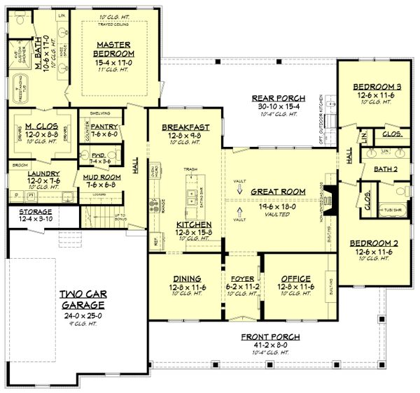House Plan Design - Farmhouse Floor Plan - Main Floor Plan #430-196