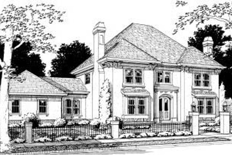 European Exterior - Front Elevation Plan #20-320