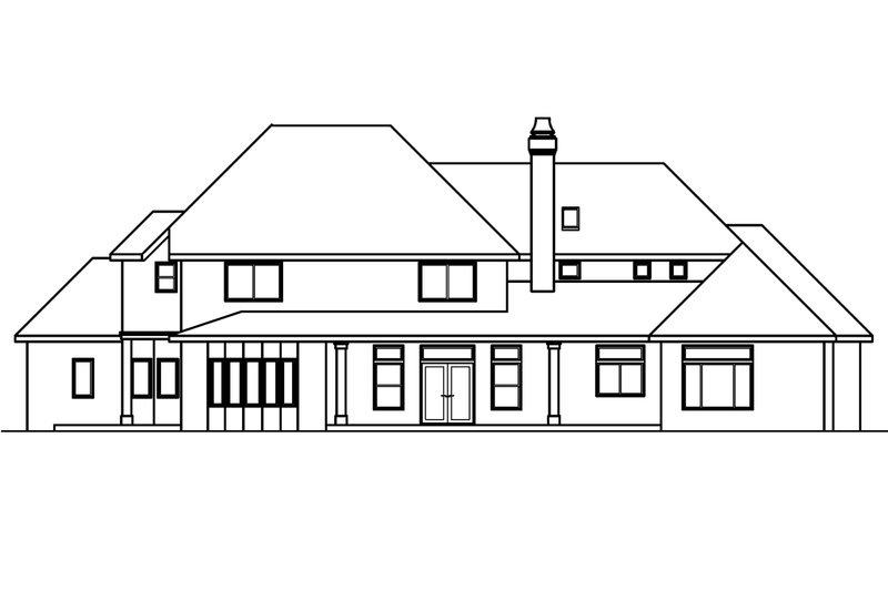 European Exterior - Rear Elevation Plan #124-461 - Houseplans.com