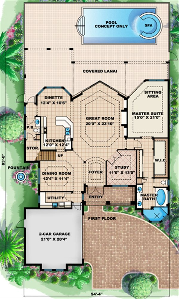 European Floor Plan - Main Floor Plan Plan #27-444