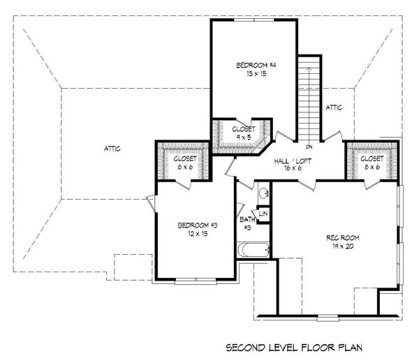 European Floor Plan - Upper Floor Plan Plan #932-29