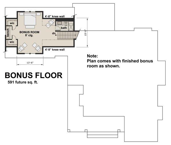 Farmhouse Floor Plan - Upper Floor Plan Plan #51-1131