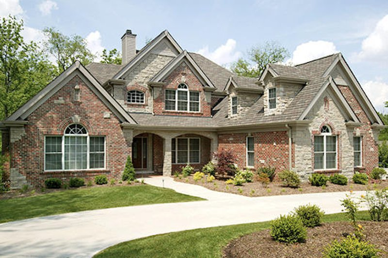 Country Style House Plan - 4 Beds 3.5 Baths 3861 Sq/Ft Plan #57-337 Exterior - Front Elevation
