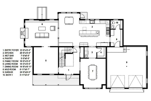 Traditional Floor Plan - Main Floor Plan Plan #497-44