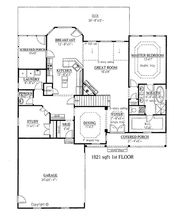 Craftsman house plan side entry garage floor plan