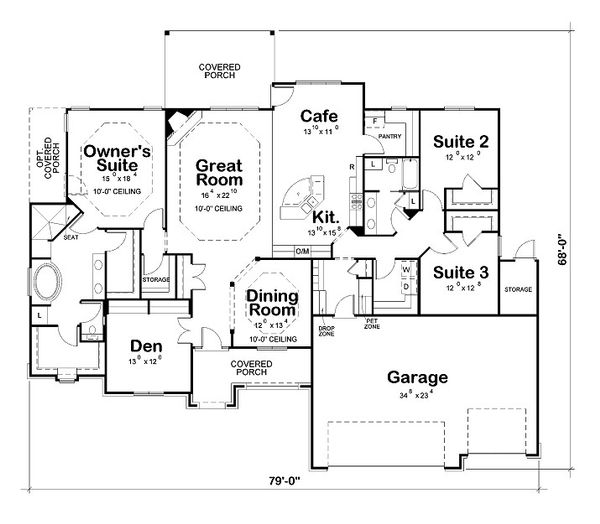 European Floor Plan - Main Floor Plan Plan #20-2065