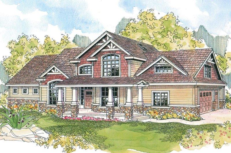 Craftsman Exterior - Front Elevation Plan #124-582 - Houseplans.com