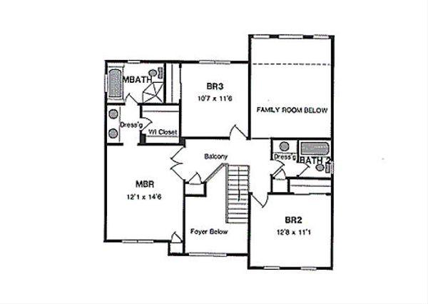 Traditional Floor Plan - Upper Floor Plan #316-109