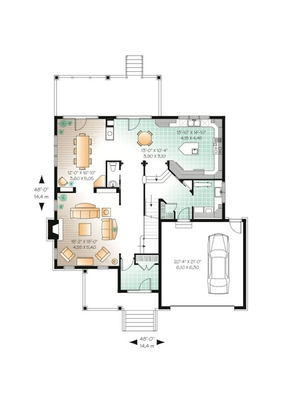 European Floor Plan - Main Floor Plan Plan #23-657