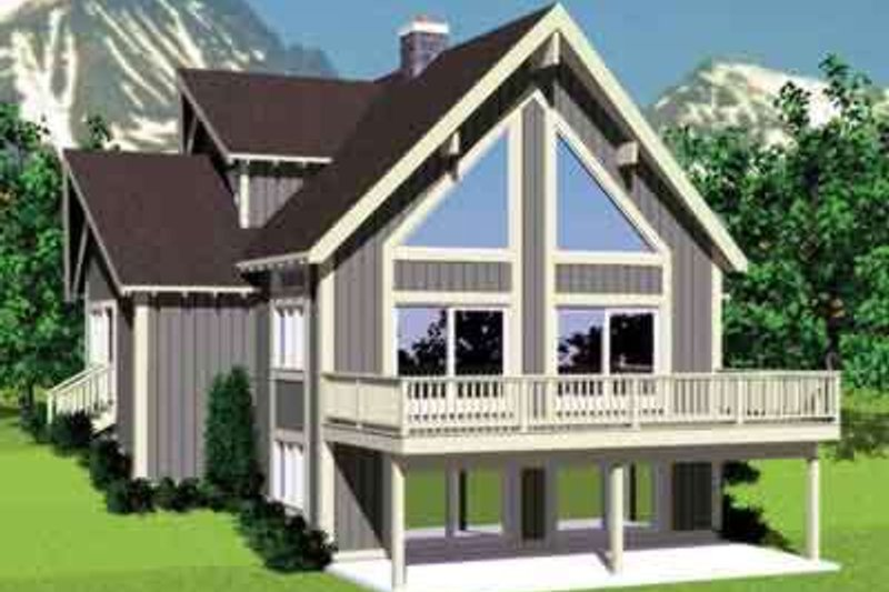 Modern Style House Plan - 4 Beds 2 Baths 1831 Sq/Ft Plan #72-477 Exterior - Front Elevation