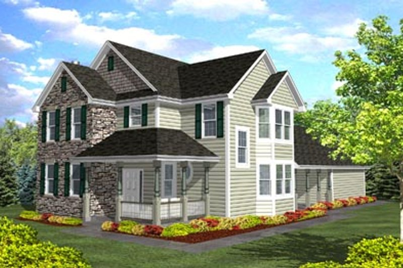 Traditional Style House Plan - 3 Beds 2.5 Baths 2207 Sq/Ft Plan #50-117 Exterior - Front Elevation