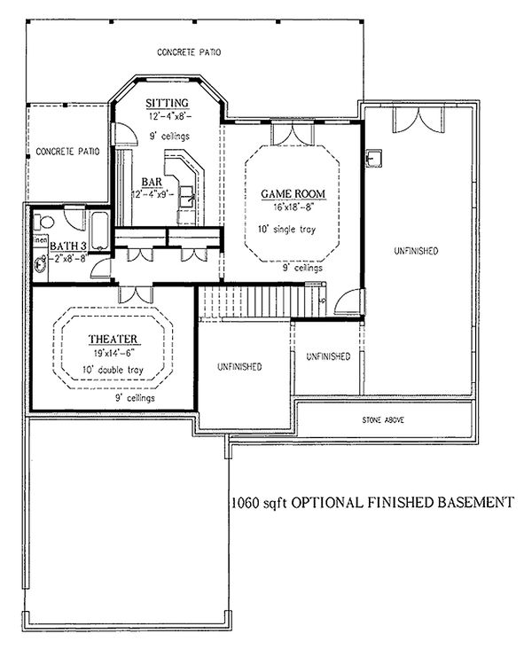 Craftsman house plan lower level floor plan