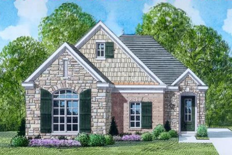 European Style House Plan - 3 Beds 2 Baths 1421 Sq/Ft Plan #424-56 Exterior - Front Elevation