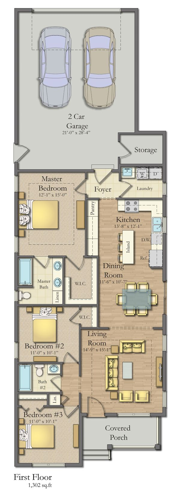 Traditional Floor Plan - Main Floor Plan Plan #1057-7