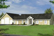 Ranch Exterior - Front Elevation Plan #117-563