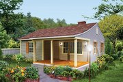 Cottage Style House Plan - 2 Beds 1 Baths 733 Sq/Ft Plan #57-499 Exterior - Front Elevation