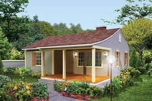Cottage Exterior - Front Elevation Plan #57-499
