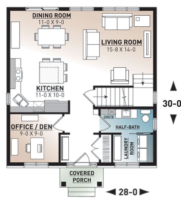 Traditional Floor Plan - Main Floor Plan Plan #23-2703