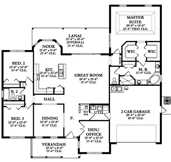 Ranch Floor Plan - Main Floor Plan Plan #1058-162