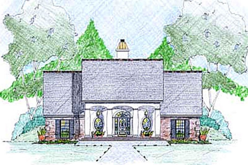 Southern Exterior - Front Elevation Plan #36-491