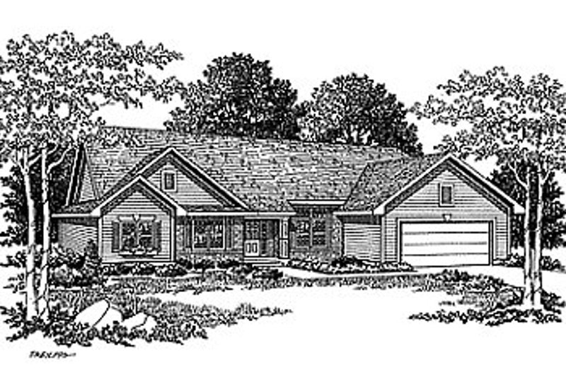 Traditional Style House Plan - 3 Beds 2.5 Baths 1778 Sq/Ft Plan #70-196 Exterior - Front Elevation