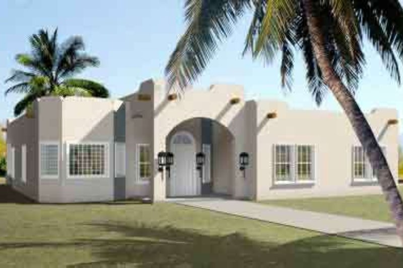Adobe / Southwestern Style House Plan - 3 Beds 2 Baths 1959 Sq/Ft Plan #1-1386 Exterior - Front Elevation