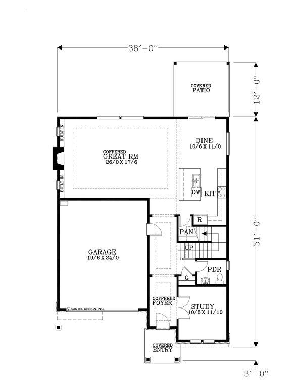 Craftsman Floor Plan - Main Floor Plan Plan #53-620