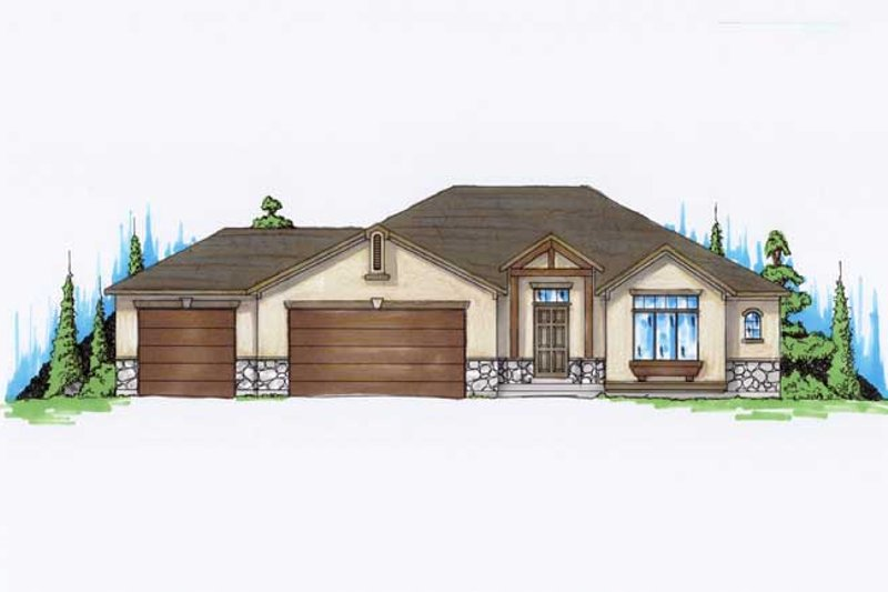 Ranch Style House Plan - 4 Beds 3 Baths 1425 Sq/Ft Plan #5-232 Exterior - Front Elevation