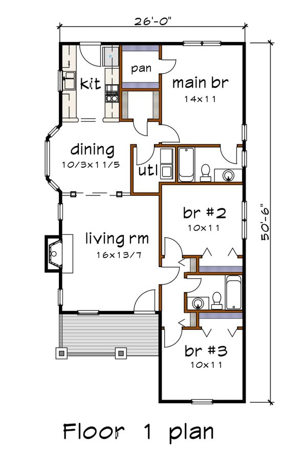 Cottage Floor Plan - Main Floor Plan Plan #79-139