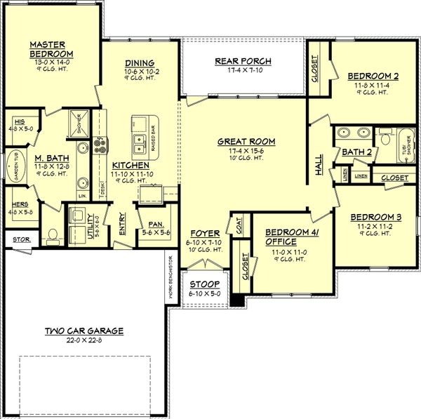 House Plan Design - European Floor Plan - Main Floor Plan #430-68