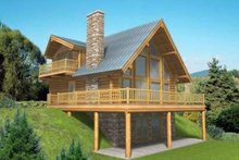 Log Exterior - Front Elevation Plan #117-318