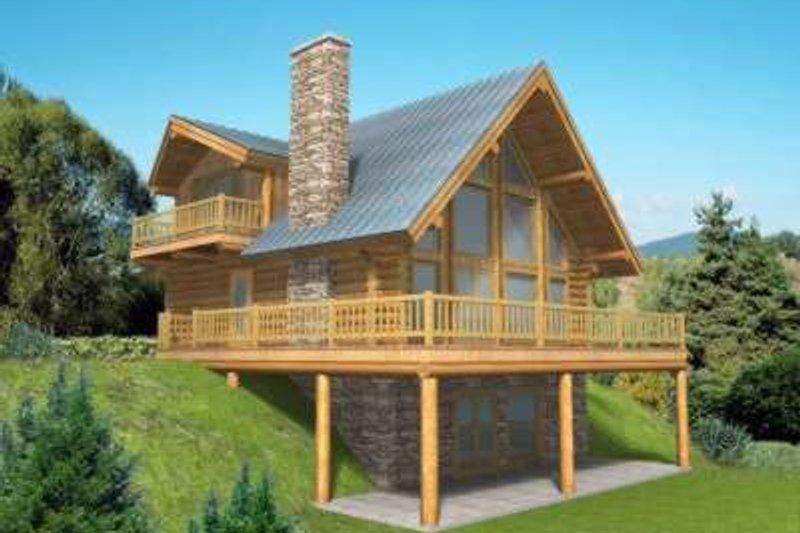 Log Exterior - Front Elevation Plan #117-318 - Houseplans.com