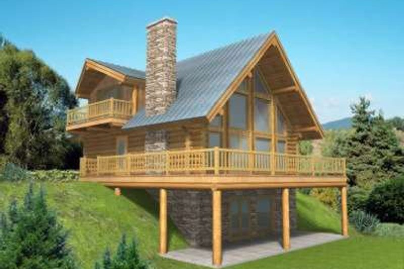 Log Style House Plan - 3 Beds 3 Baths 2057 Sq/Ft Plan #117-318