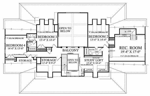 Farmhouse Floor Plan - Upper Floor Plan Plan #137-282