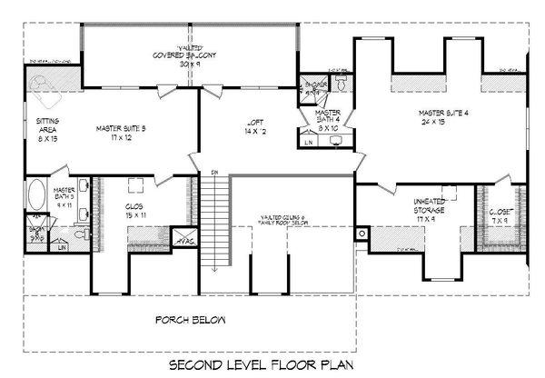 Country Floor Plan - Upper Floor Plan #932-207