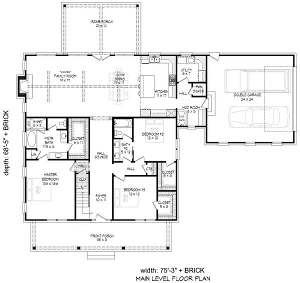 Country Floor Plan - Main Floor Plan Plan #932-278