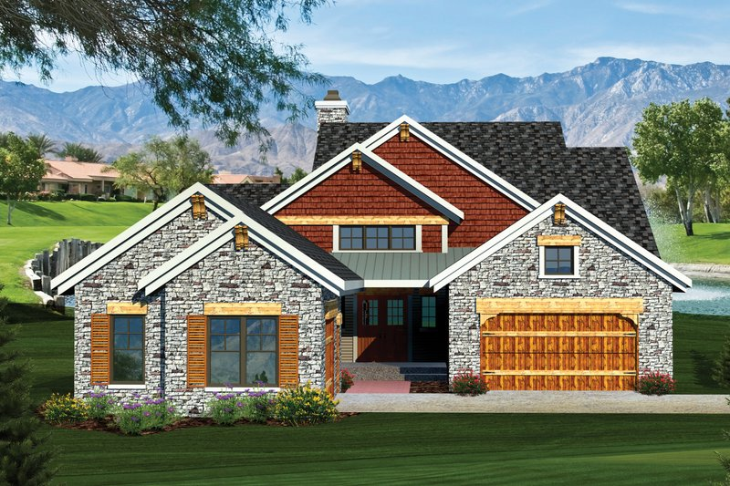 Dream House Plan - Craftsman Exterior - Front Elevation Plan #70-1055
