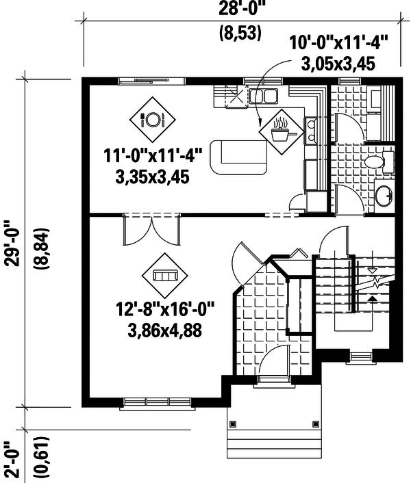 European Floor Plan - Main Floor Plan Plan #25-4702