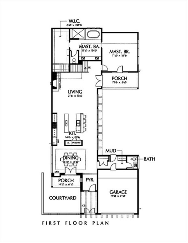 Modern Floor Plan - Main Floor Plan Plan #449-1