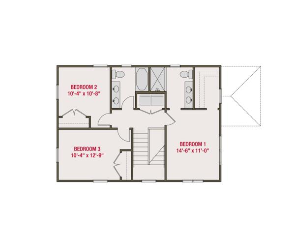 Craftsman Floor Plan - Upper Floor Plan Plan #461-56