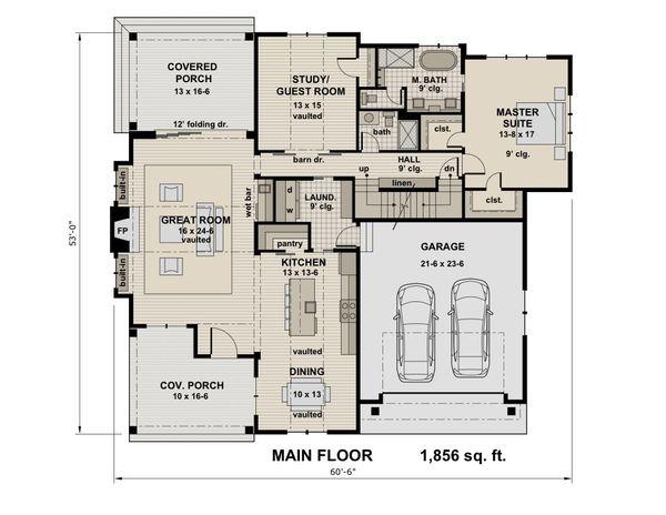 Contemporary Floor Plan - Main Floor Plan Plan #51-587