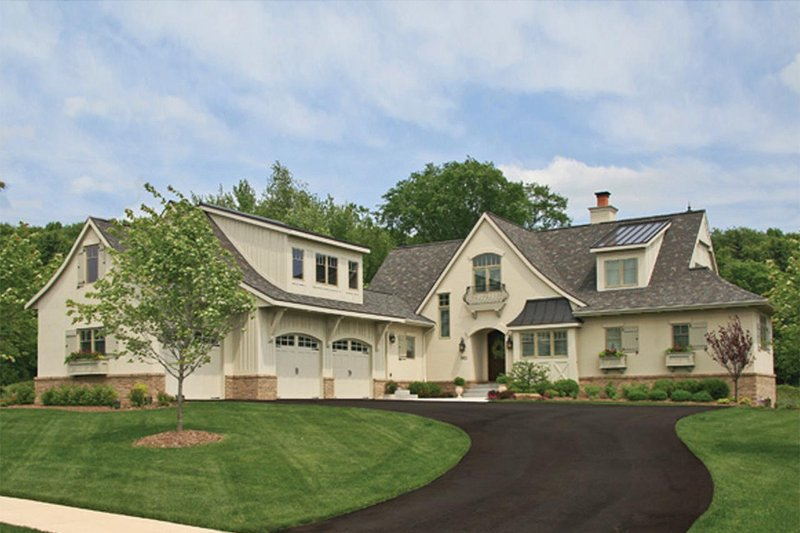 European Style House Plan - 3 Beds 3.5 Baths 3649 Sq/Ft Plan #928-215 Exterior - Front Elevation