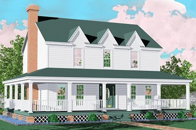Farmhouse Style House Plan - 3 Beds 2.5 Baths 1810 Sq/Ft Plan #81-110 Exterior - Front Elevation