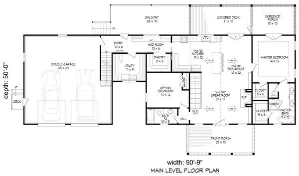 Architectural House Design - Farmhouse Floor Plan - Main Floor Plan #932-388