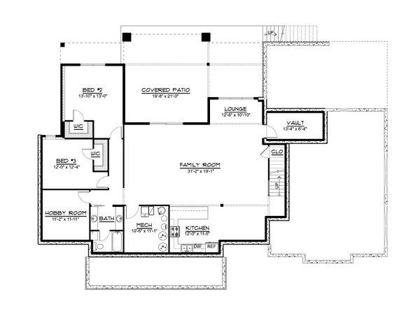 House Plan Design - Farmhouse Floor Plan - Lower Floor Plan #1064-122