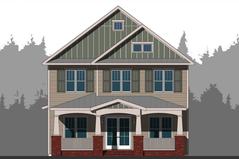 Craftsman Style House Plan - 5 Beds 4.5 Baths 3354 Sq/Ft Plan #461-63 Exterior - Front Elevation