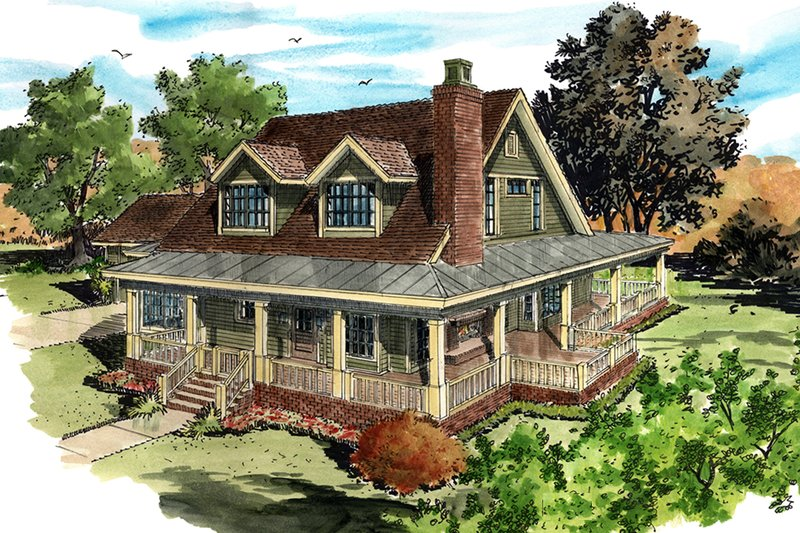 Country Style House Plan - 3 Beds 3.5 Baths 1825 Sq/Ft Plan #942-50